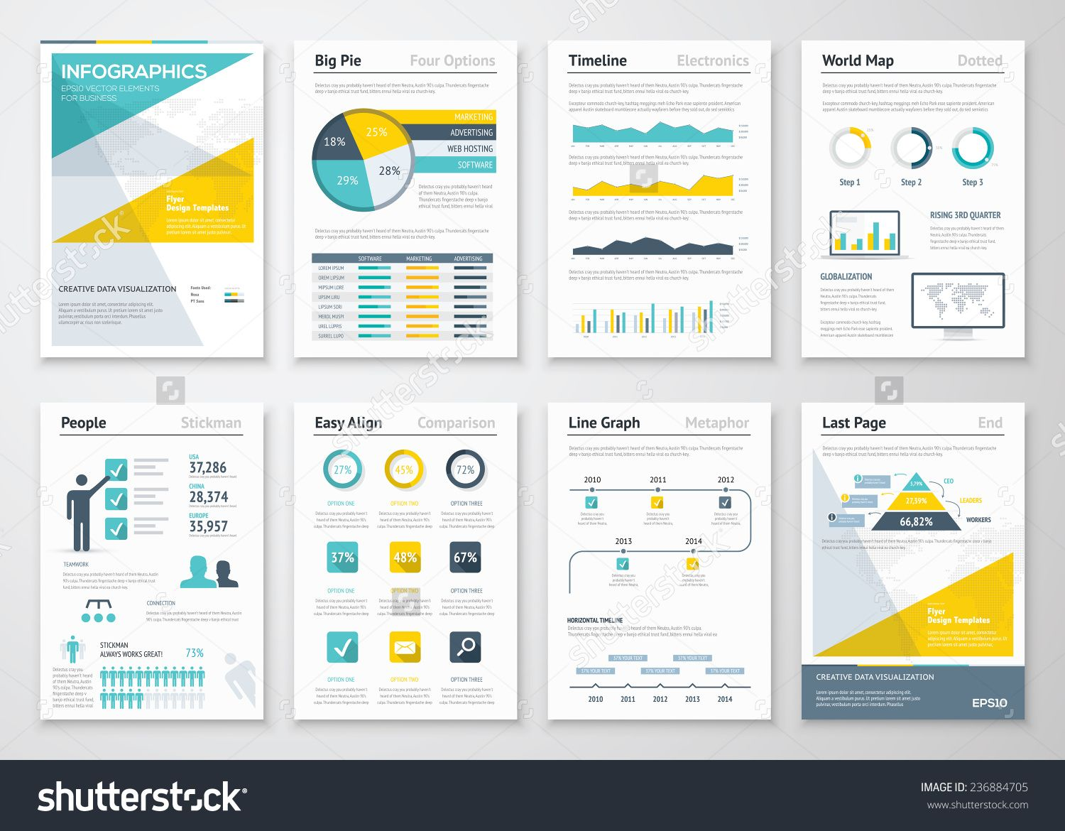 Business Info Graphics Vector Elements For Corporate Brochures Collection Of Modern Infographic Metaphors In A Flye Infographic Brochures Infographic Brochure