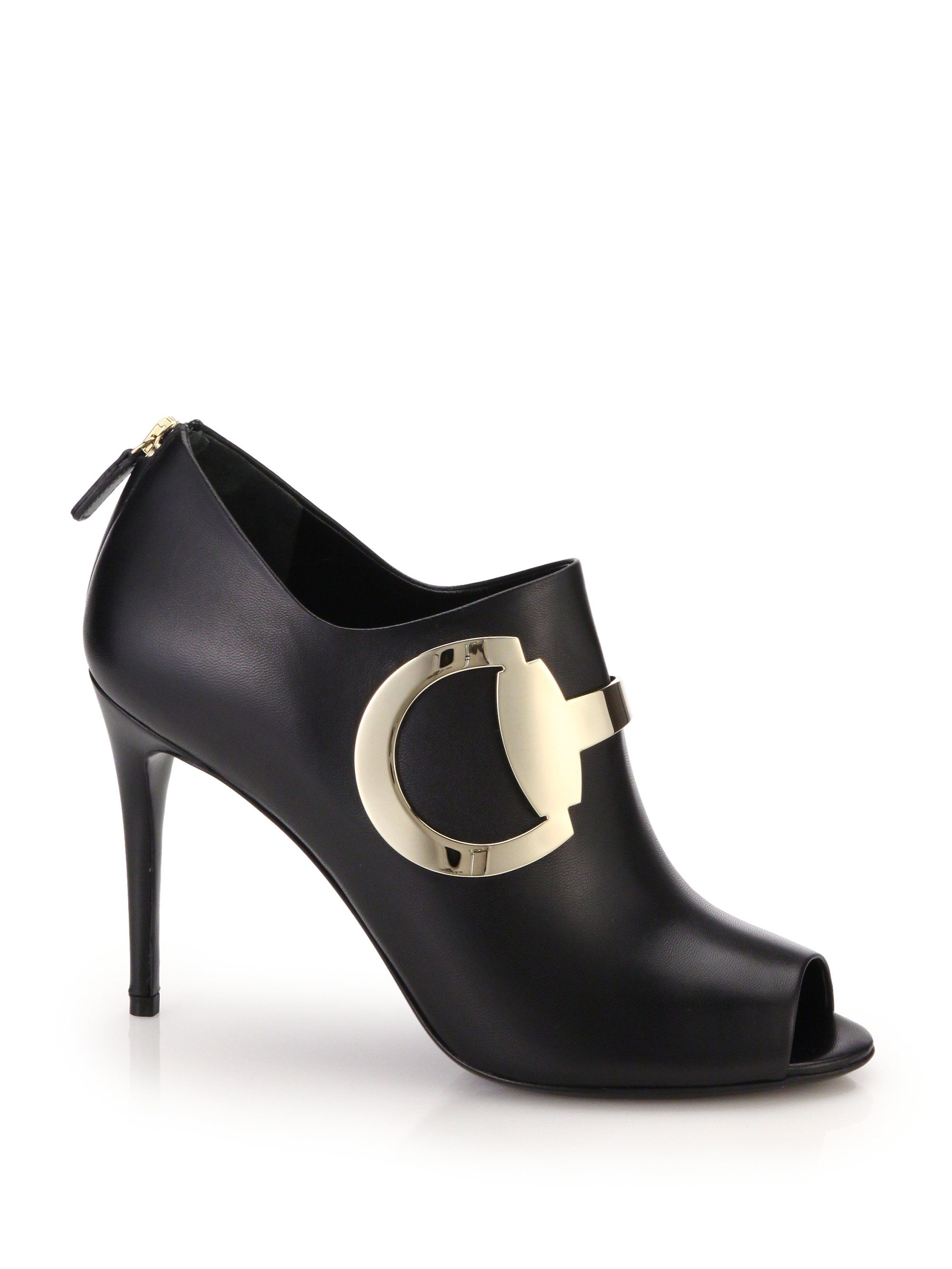 a6c8c17f5ae Gucci Rooney Leather Horsebit Peep-Toe Booties in Black