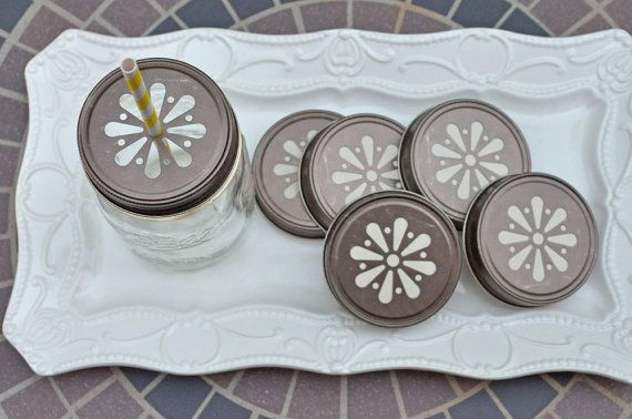 36 Rustic Daisy Cut Mason Jar Lids by EnchantedFrogEvents on Etsy, $30.00