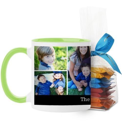 Simply Family Mug, Green, with Ghirardelli Minis, 11 oz, Black