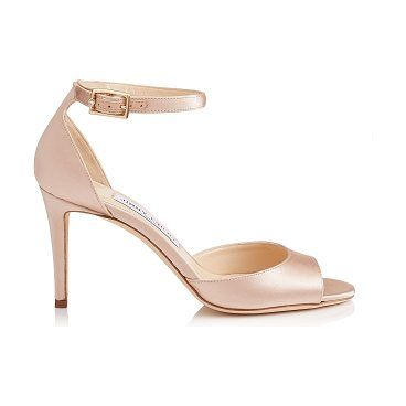 cd7c428fe ANNIE 85 Dusty Rose Satin Peep Toe Sandals by Jimmy Choo. Crafted in dusty  rose