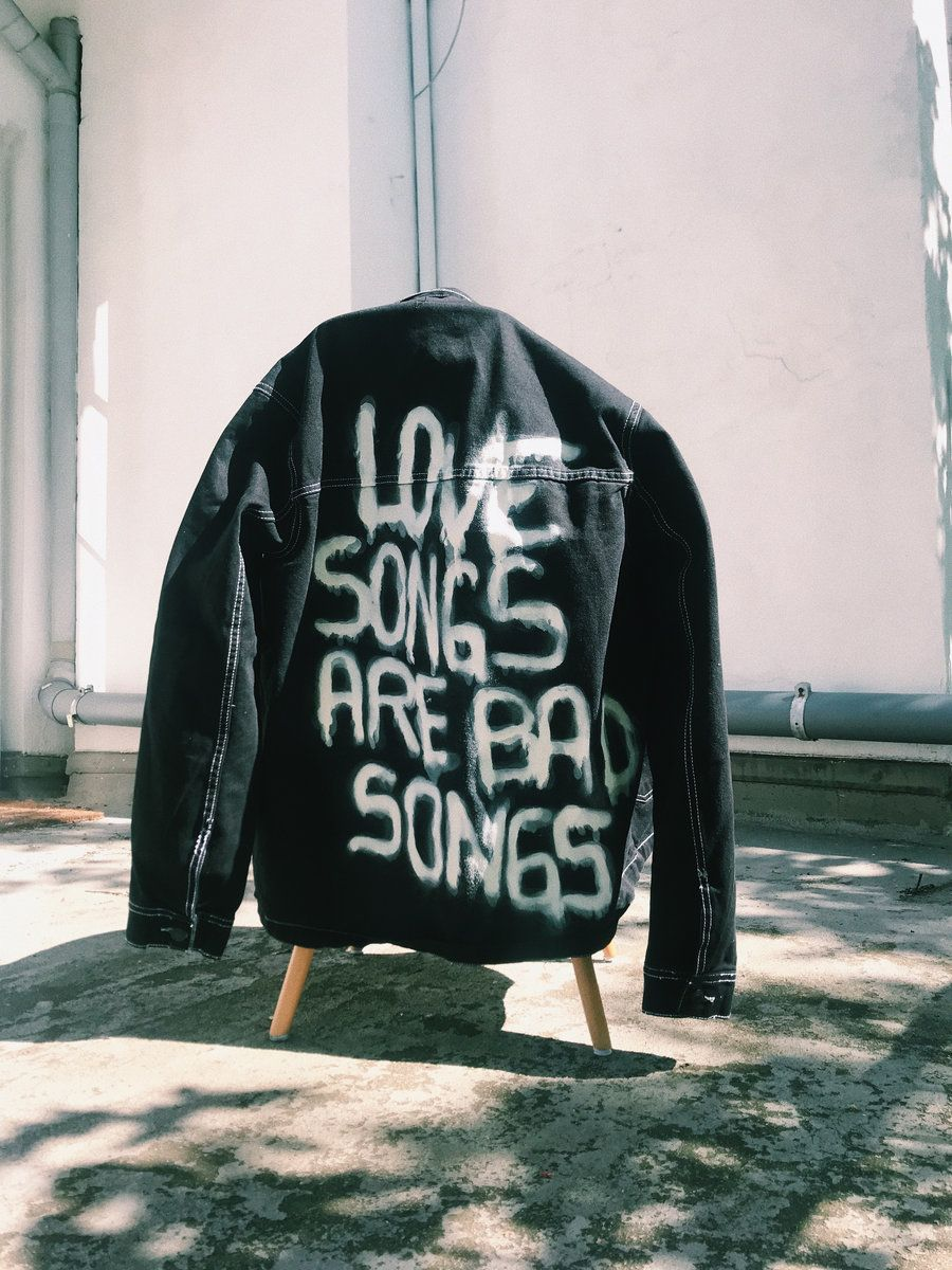 Love Songs Are Bad Songs Diy Denim Jacket Denim Jacket Jackets [ 1200 x 900 Pixel ]