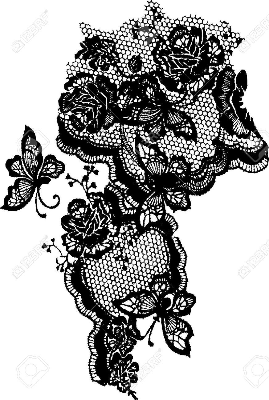 7020766 butterfly and rose lace pattern stock vector. Black Bedroom Furniture Sets. Home Design Ideas