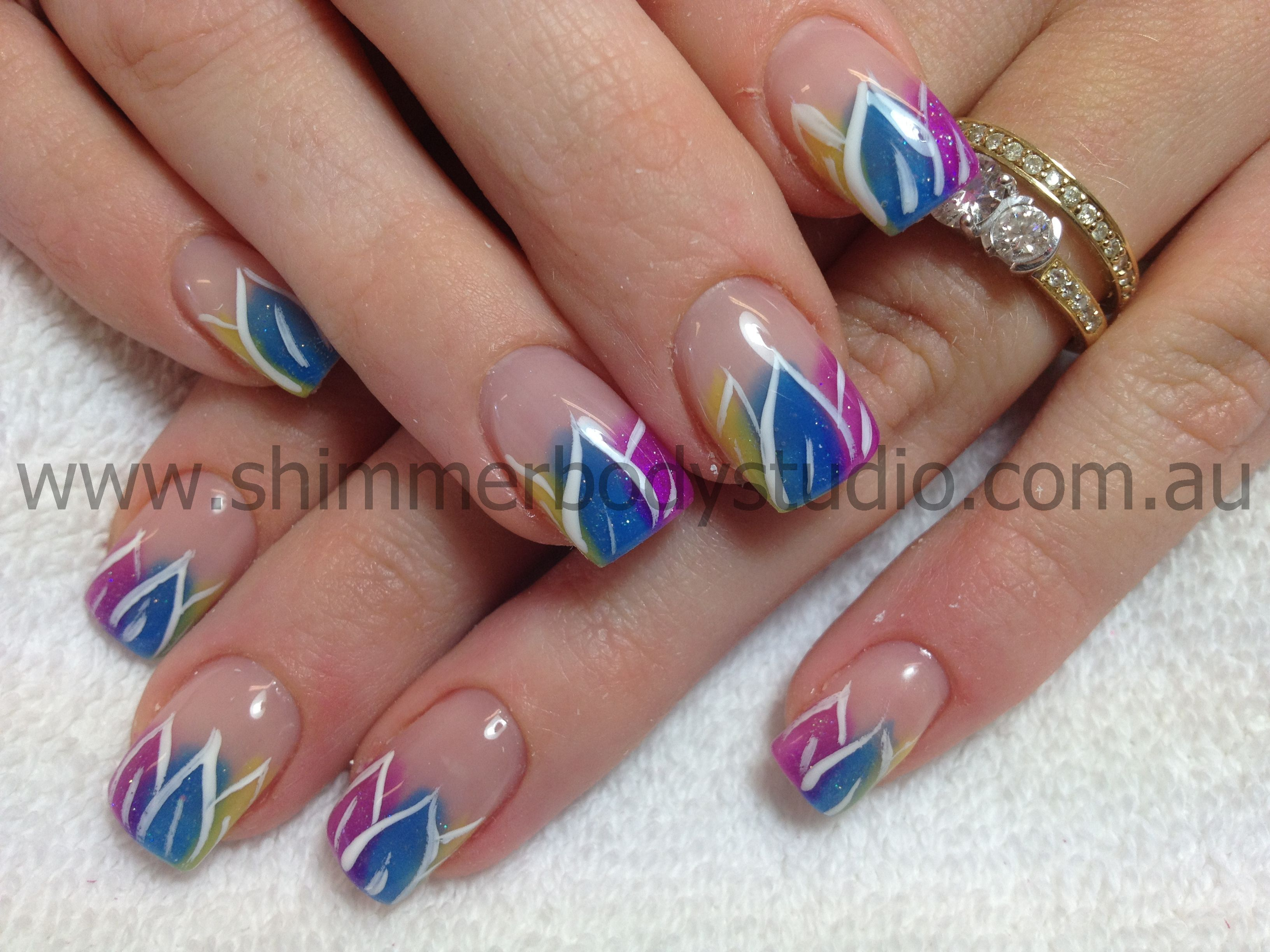 Pin By Ashley Dickison On Nails Colour Or Glitter French Gel Nails Feather Nails Toe Art