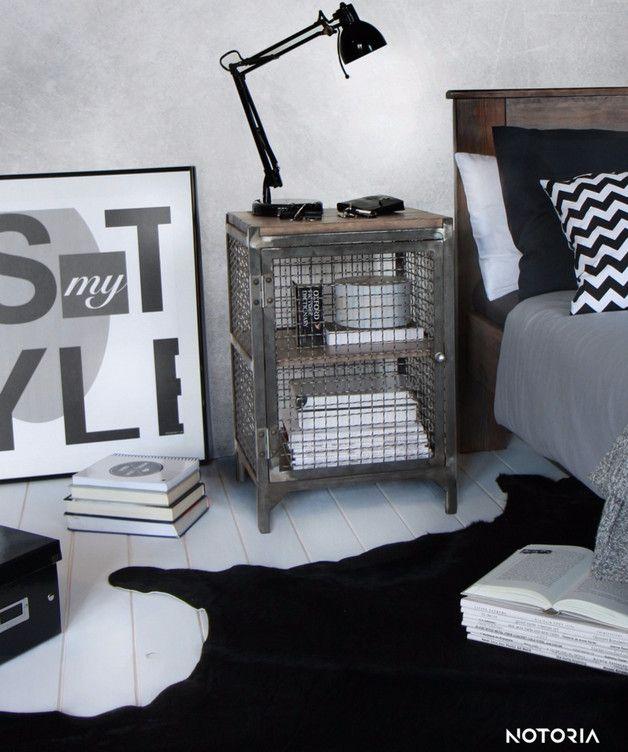 Nachttisch aus Metall im Industriedesign, Schlafzimmer Deko - schlafzimmer deko bilder