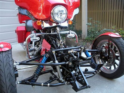 Trt The Tilting Reverse Trike Harley Conversion From Too Kool