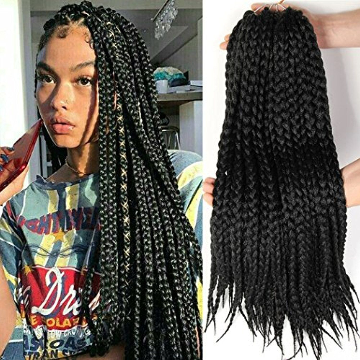 Box Braid Style 18 Inch 6 Packs Black Color Synthetic Hair Crochet