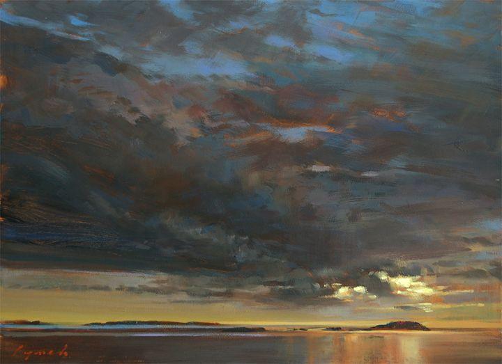 'Covenant'   Ballenas Islands BC  (field study)  16 X 20 in.  oil on prepared board. -  Avenue Gallery Victoria.  sold   -copyright Brent Lynch
