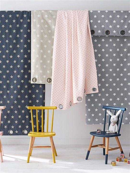 Vorhang mit Ösen, Baumwolle, bedruckt BLAUGRAU/WEISS