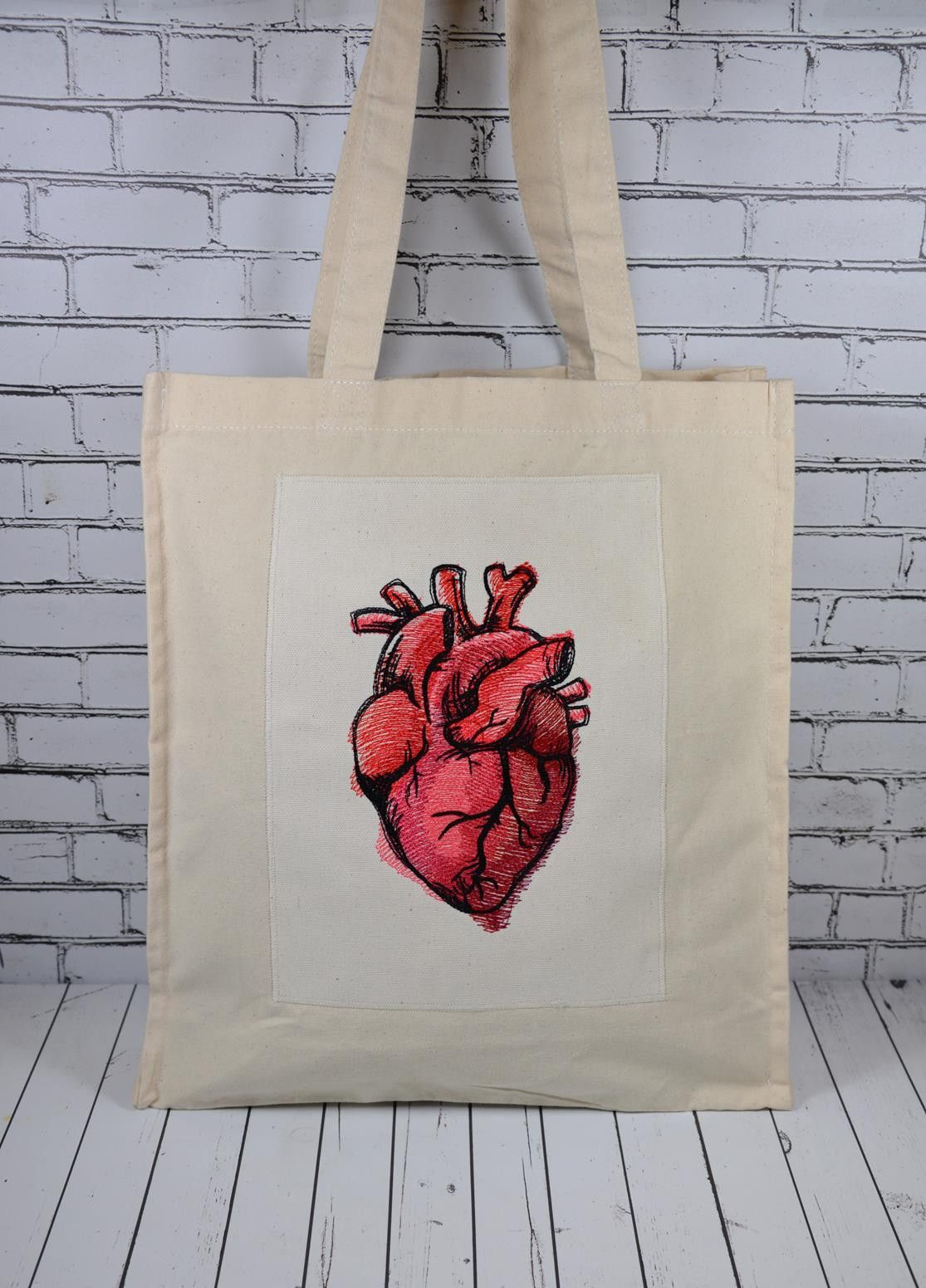 Anatomical Heart Canvas Tote Bag