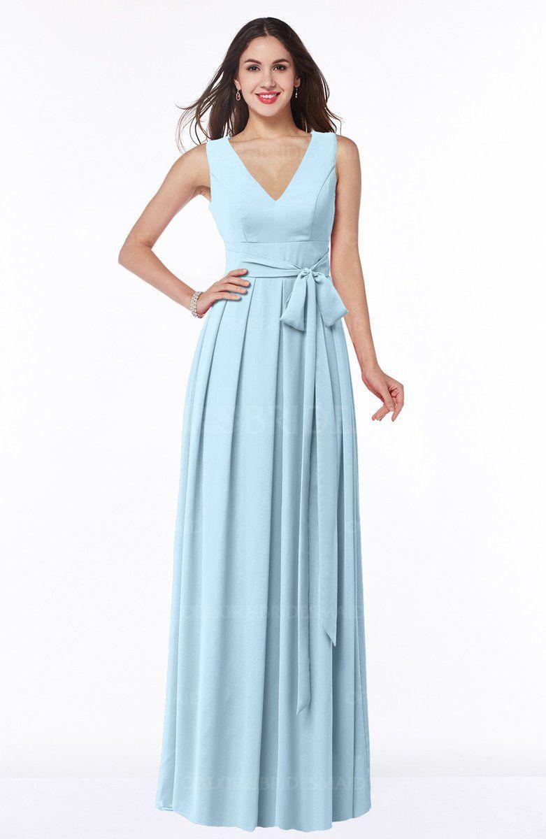 Ice Blue Traditional V-neck Sleeveless Zip up Chiffon Plus Size ...