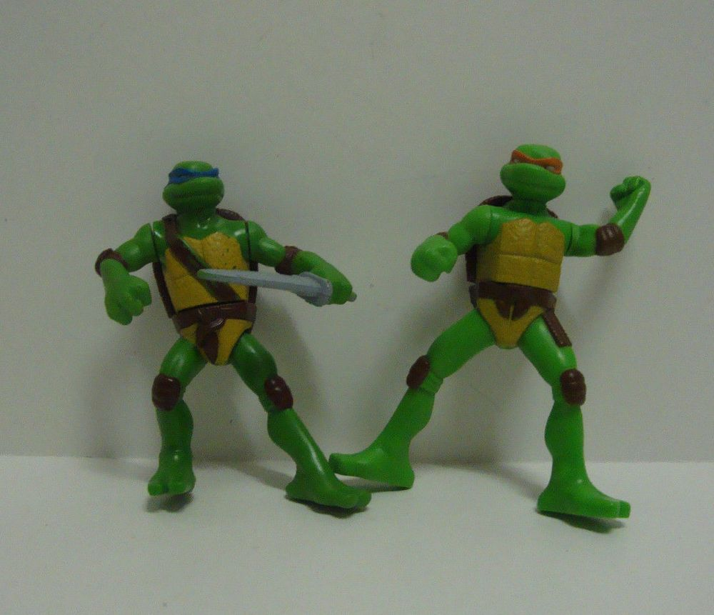 Tmnt 2007 Collectible 4 Action Figurines Mcdonald S Toy Lot Of 2