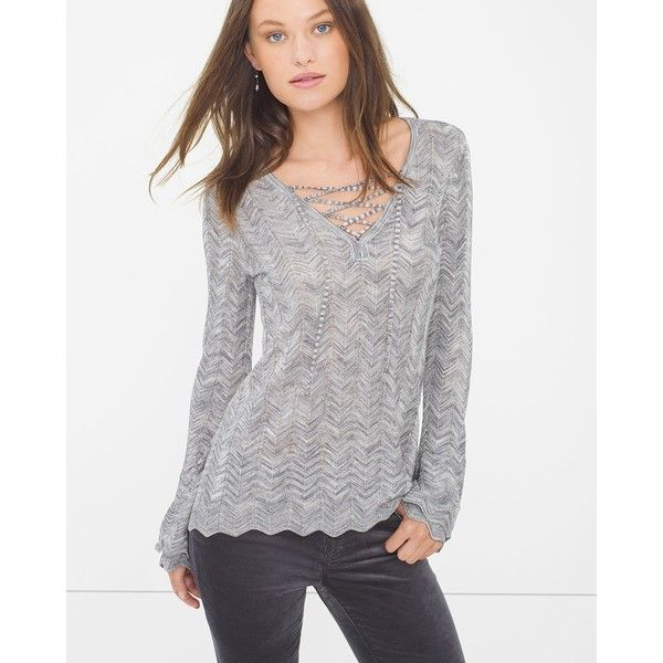 White House Black Market Lace-Up Sweater ($88) ❤ liked on Polyvore featuring tops, sweaters, long sleeve pullover sweater, grey pullover sweater, chevron tops, chevron sweater and petite tops
