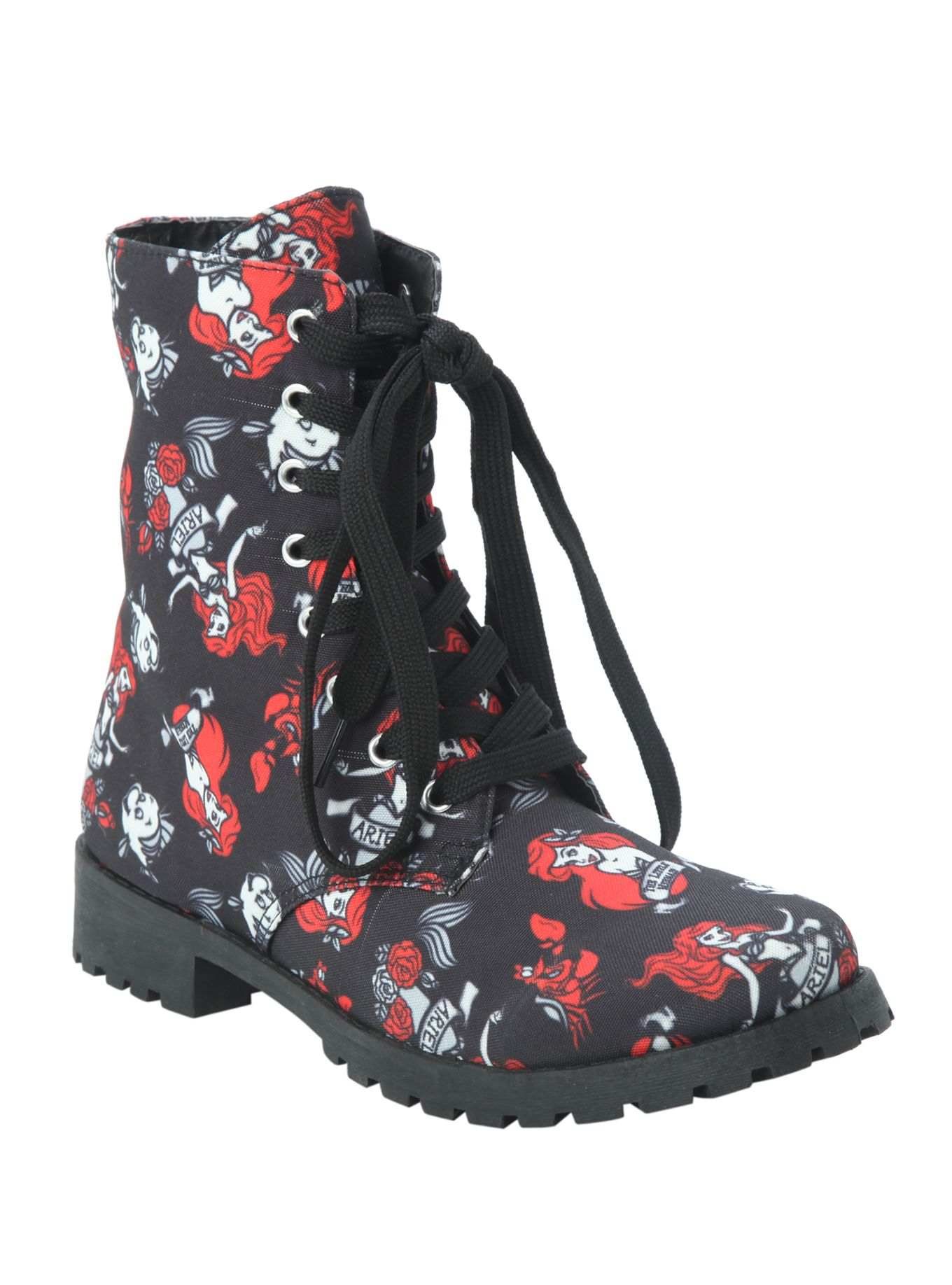 Disney The Little Mermaid Ariel & Flounder Combat Boot | Hot Topic