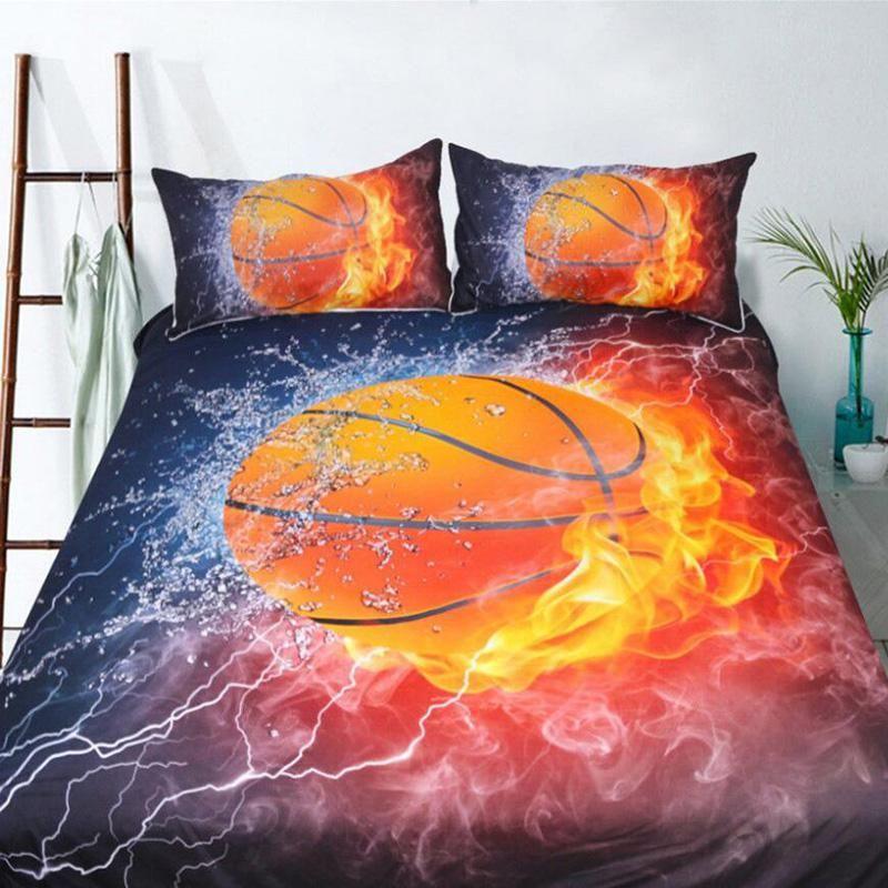 Comforter Set Basketball Quilt Doona Pillowcase for Boy Sports Fans Full Size
