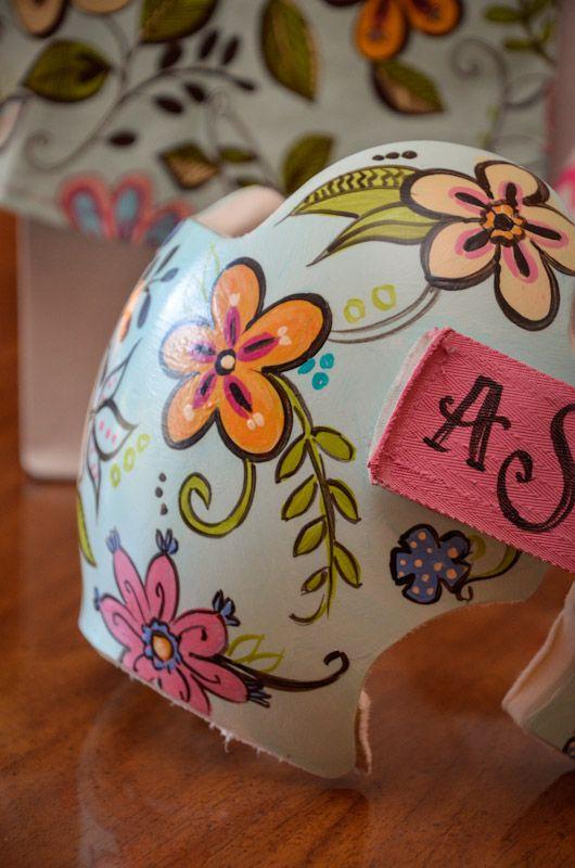 Floral design doc band cranial band helmet https www for Baby cranial helmet decoration