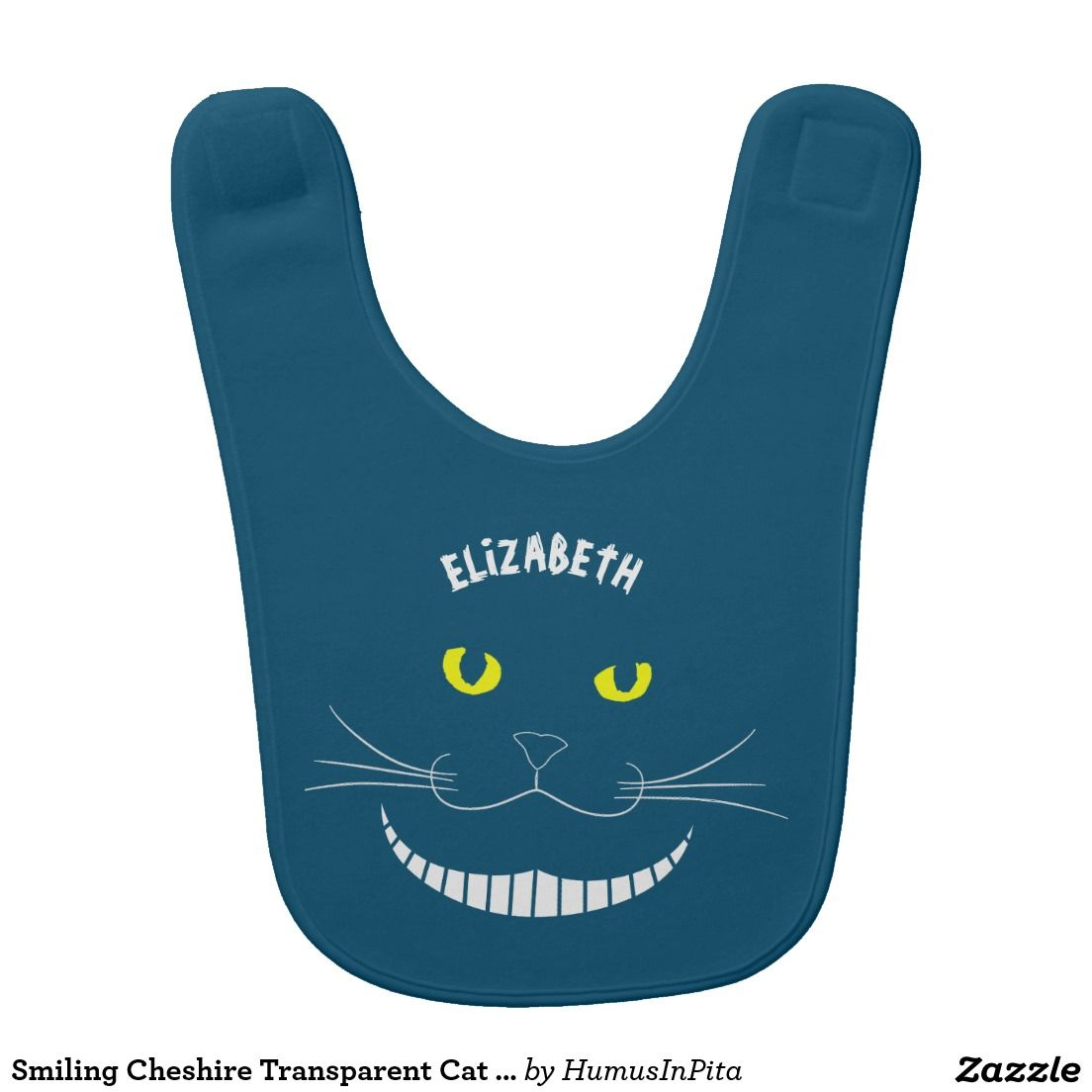 Smiling Cheshire Transparent Cat With Yellow Eyes Bib