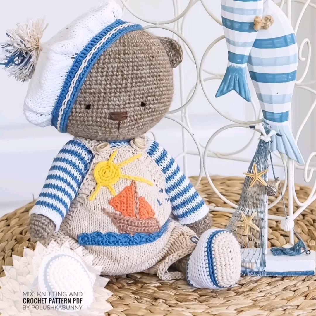 """Photo of Strick- und Häkelmuster für das Outfit """"Sailor Boys"""" für Teddybär Spielzeug von Polushkabunny #teddy"""