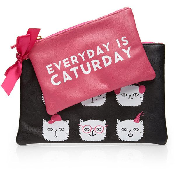 Forever 21 Caturday Pouch Set (36 BRL) ❤ liked on Polyvore featuring home