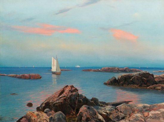 Nils Hansteen (1855-1912): Sommeraften ved kysten, Hvaler