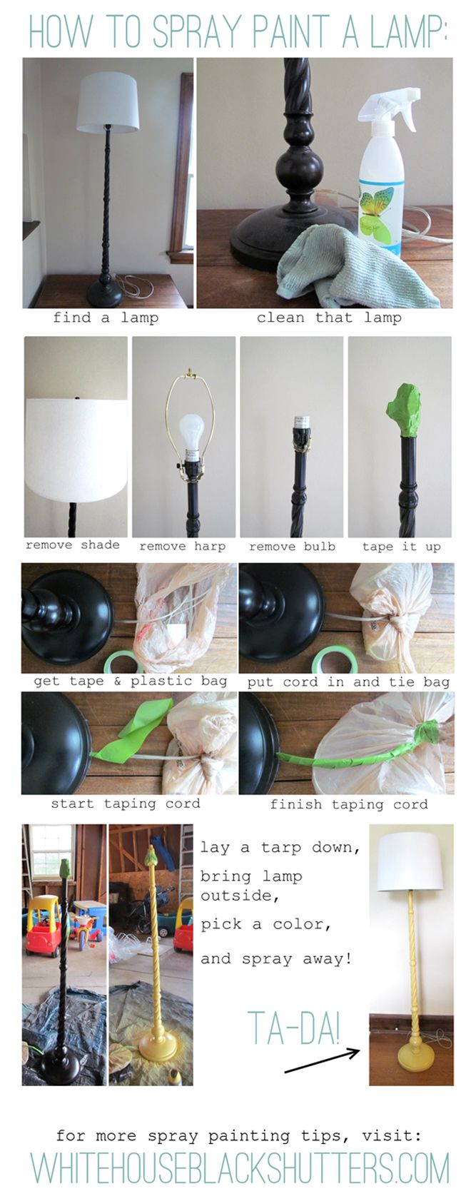 SPRAY PAINT | TECHNIQUE :: How to spray paint a LAMP BASE :: She ...