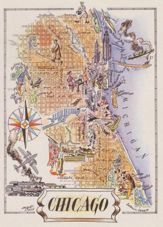 Chicago Map Print  Old Map Illustration  Vintage Map by HildaLea