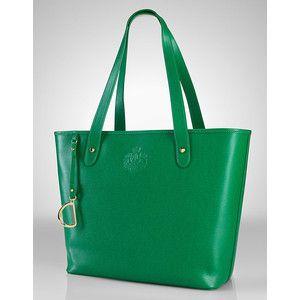 7bdf5e86fa Lauren By Ralph Lauren Newbury Green Leather Tote Bag - Laur... - Polyvore