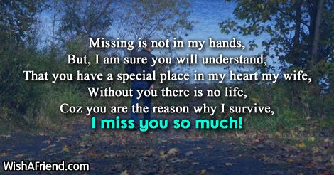 Missing is not in my hands,  But, I am sure you will understand,  That you have a special place in my heart my wife,  Without you there is no life,  Coz you are the reason why I survive, I miss you so much!