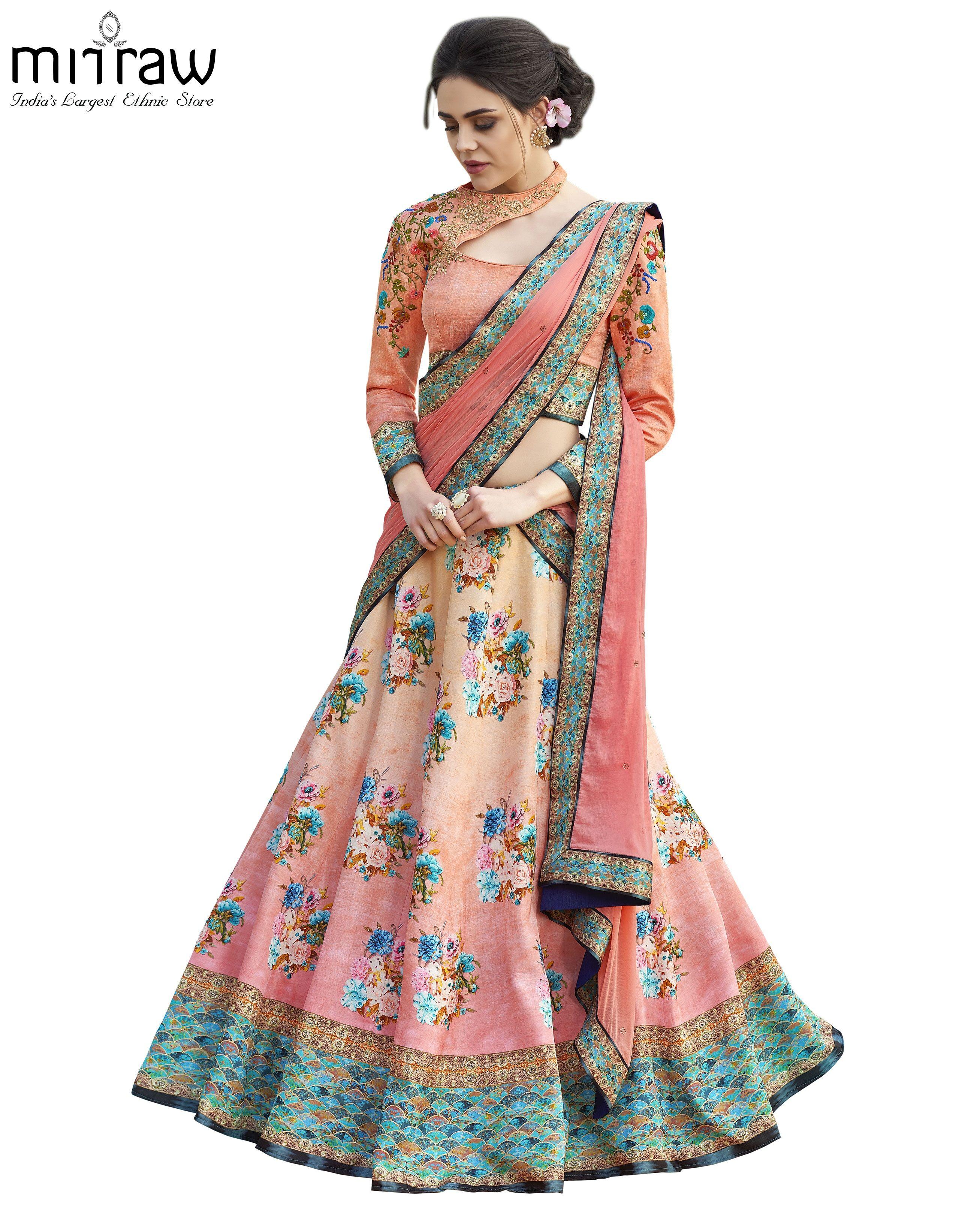 fe18137b4a #LehengaDesignsForPartyWear at Mirraw.com Floral Lehenga, Lehenga Choli,  Pink Beige, Pink