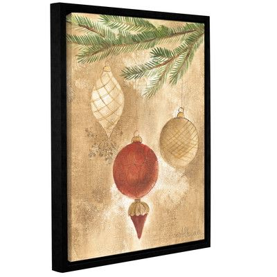 """Alcott Hill Christmas Ornaments Framed Painting Print on Wrapped Canvas Size: 24"""" H x 32"""" W x 2"""" D"""
