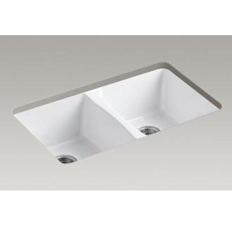 Kohler K-5873-5U Deerfield 28-1/2 Double Basin Under-Mount Enameled Cast-Iron Kitchen Sink $599
