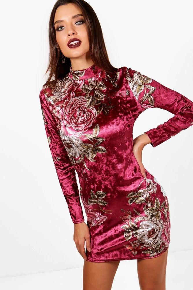 ecbe3dcecec2 Details about Boohoo Womens Aria Floral Velvet High Neck Bodycon ...