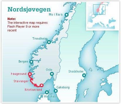 nordsjøvegen kart Nordsjøvegen kart | Norway | Pinterest | Vikings nordsjøvegen kart