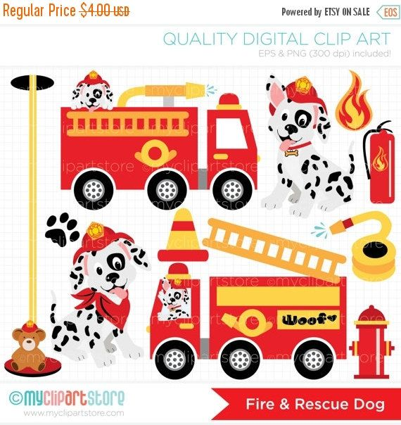 Fire Trucks Clipart Fire And Rescue Dog Dalmatian Firefighter