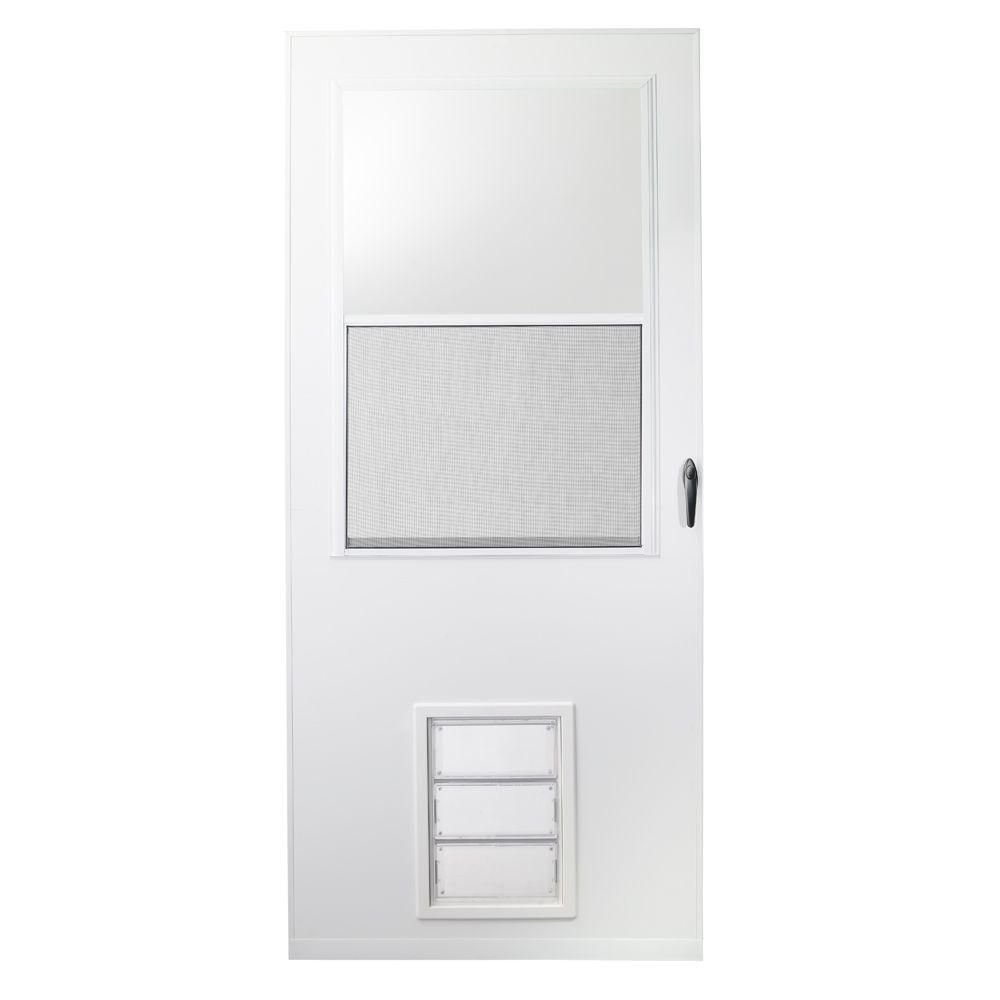 Emco 32 In X 80 In K900 Series White Vinyl Self Storing Pet Storm Door With Black Hardware K900 32wh Storm Door White Vinyl Self Store