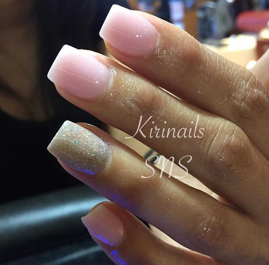 Pink with glitter SNS nails @ Angel Nail Spa #2 | Uñas | Pinterest ...