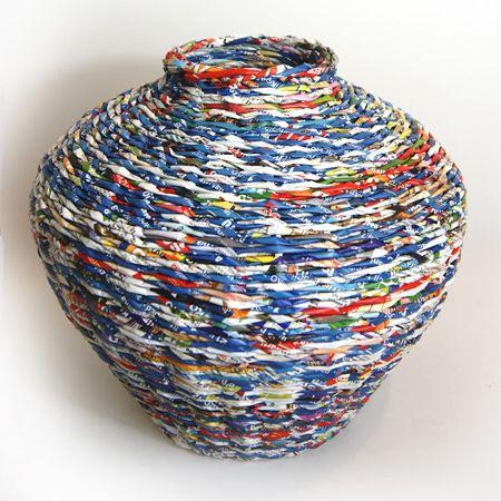 weave paper basket decorative storage basket weaving pinterest