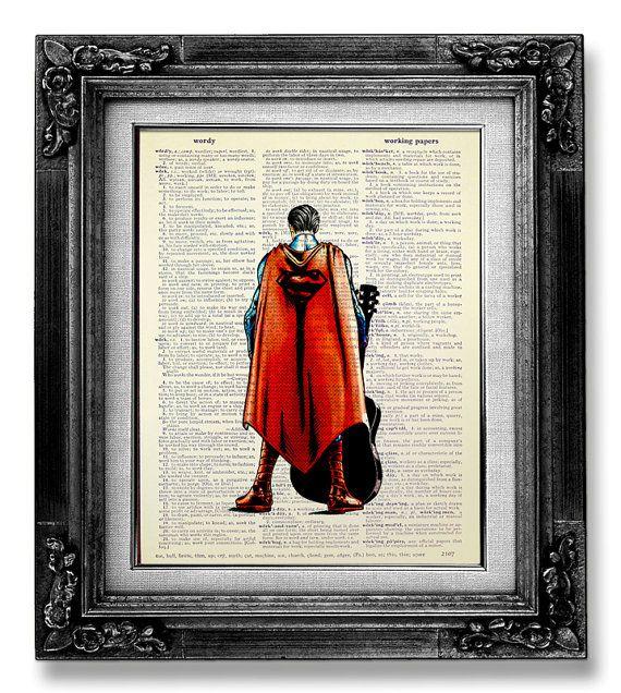 MUSIC ART PRINT, Retro Movie Poster Art, Superman Art, Superhero wall Art, Guitar Wall Art, Music Poster, Superman Print, Superman & Guitar