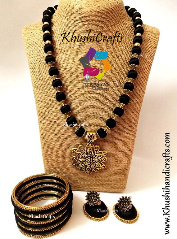 7f48fe19bd2601 Black Silk Thread Jewelry Set with Jhumkas and matching bangles -Handmade  Indian Jewelry
