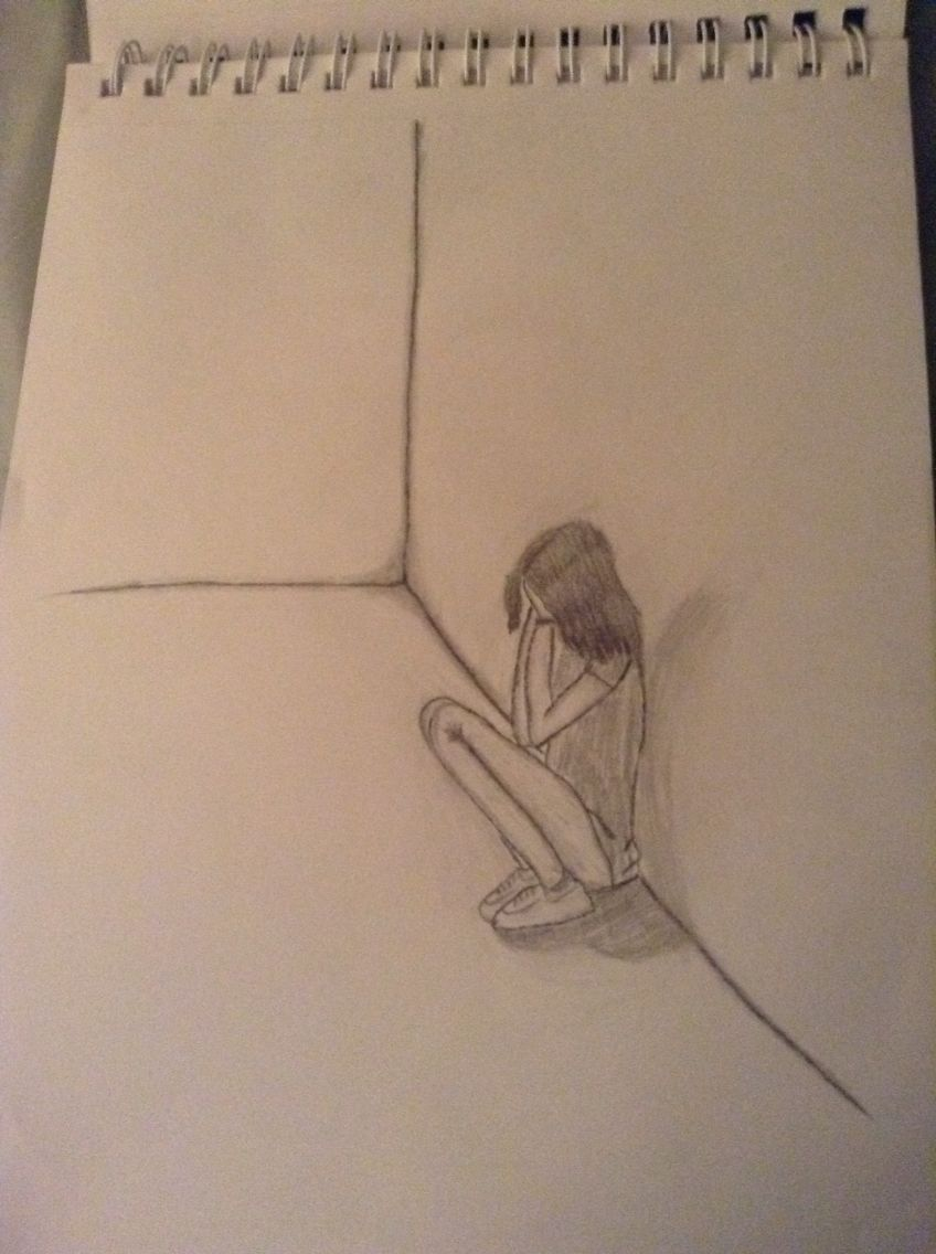 A Girl Crying Alone In A Room