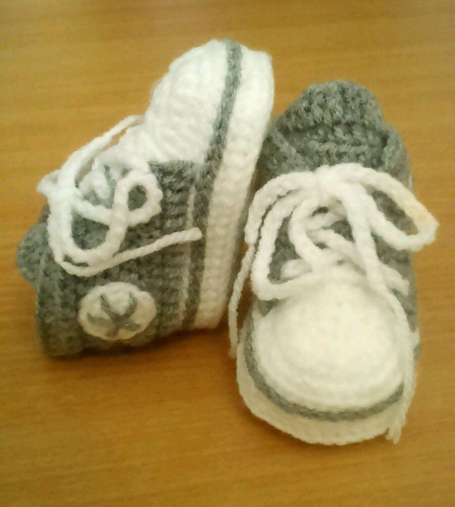 Babyschuhe Babychucks Turnschuhe Grau Gehäkelt Verschiedene
