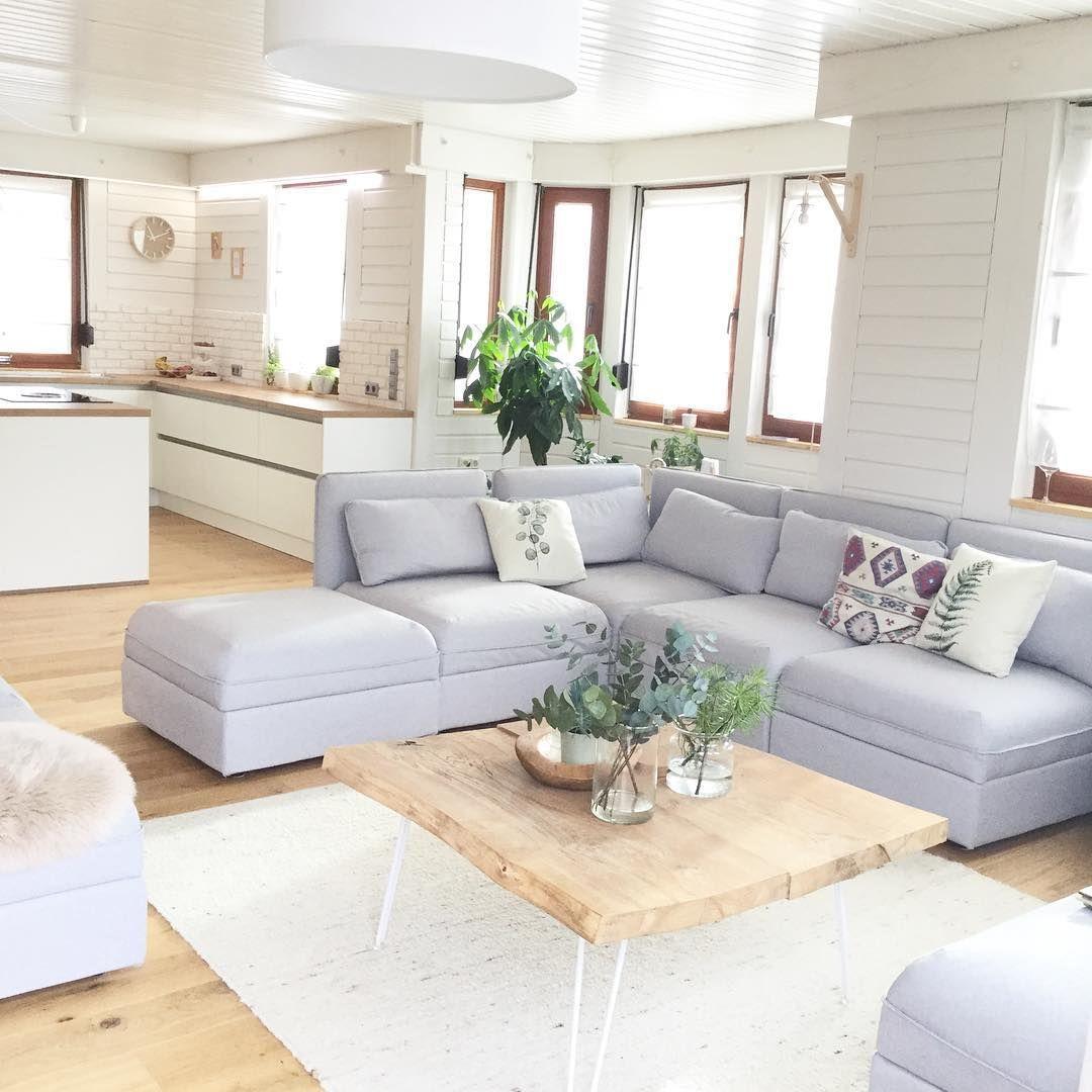 Wohnzimmer living rom grey couch graues sofa Vallentuna diy