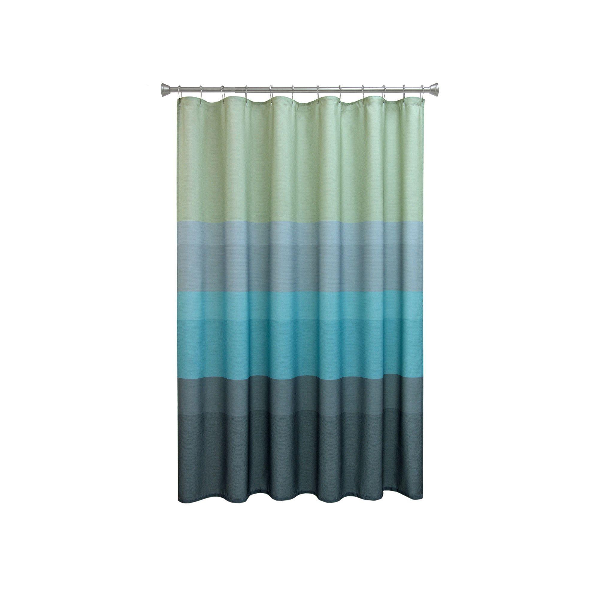Chevron Beach Striped Fabric Shower Curtain, Multicolor | Striped ...