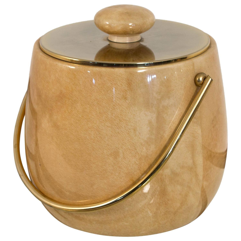 elegant midcentury modern ice bucket in goatskin by aldo tura  - elegant midcentury modern ice bucket in goatskin by aldo tura