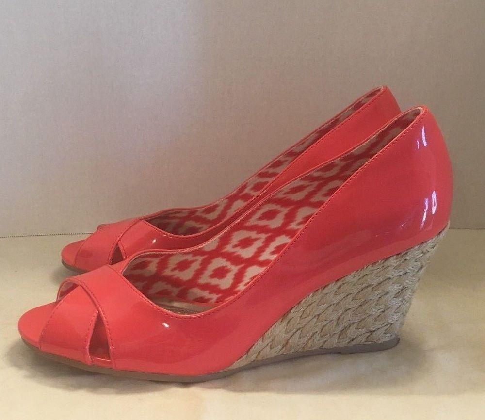f765e68deff Womens Dexflex Comfort Wedge Coral Peep Toe Espadrille Heels Size 8.5 M   Dexflex  Espadrilles  Casual