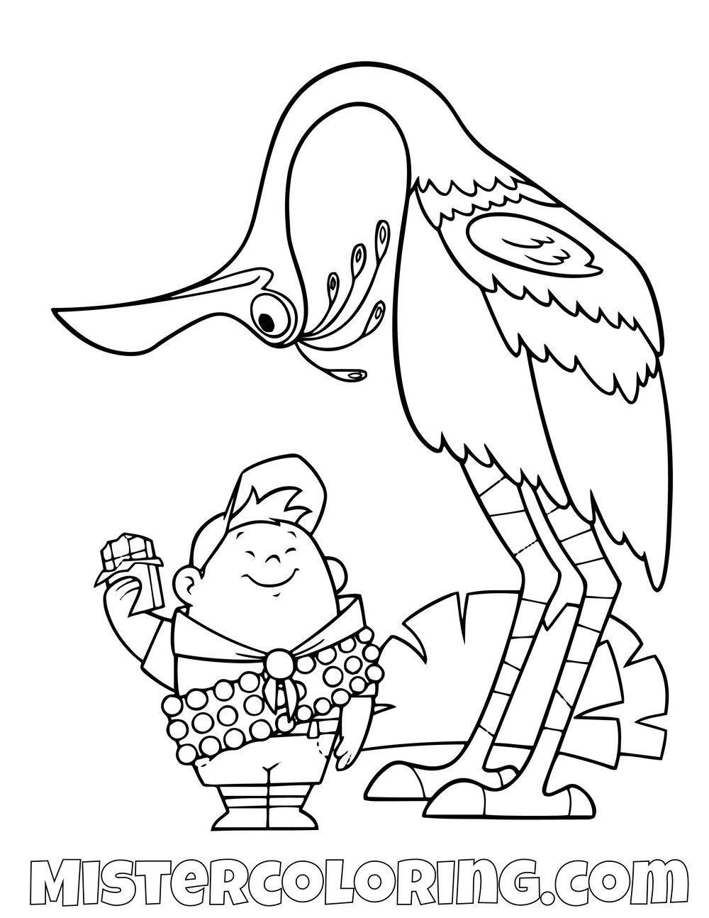 Russell And Kevin Standing Disney Pixar Up Movie Coloring Pages For Kids Bird Coloring Pages Coloring Pages Disney Up