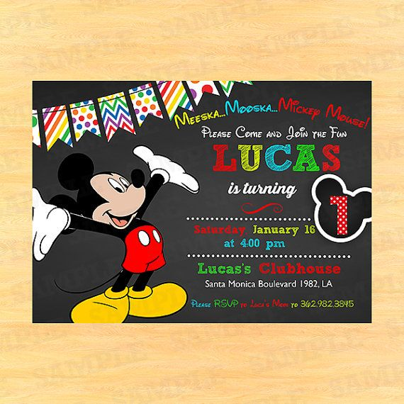 1st Birthday Invitations Boy Mickey Mouse Invitation Printable Invites