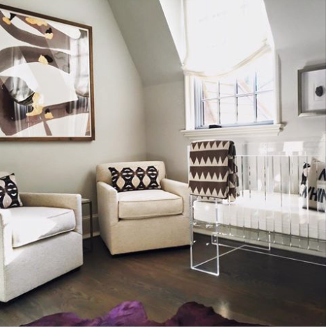 Nursery Decorated By Kellum And Company In Birmingham Al Gender Neutral With Acrylic Lucite Crib Bright Cowhide