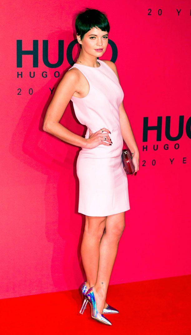 LOOK OF THE DAY-Pixie Geldof at Hugo Boss Event in Hologram Heels