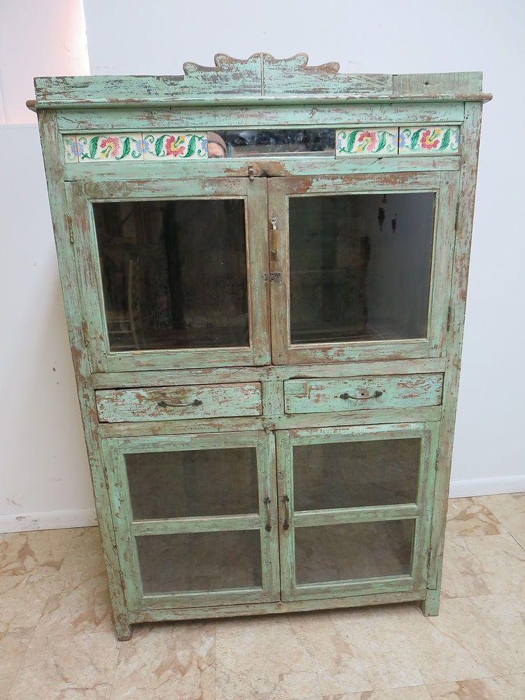 Antique Primitive Indian Reclaimed Hutch Glass Door China Cabinet Cupboard N